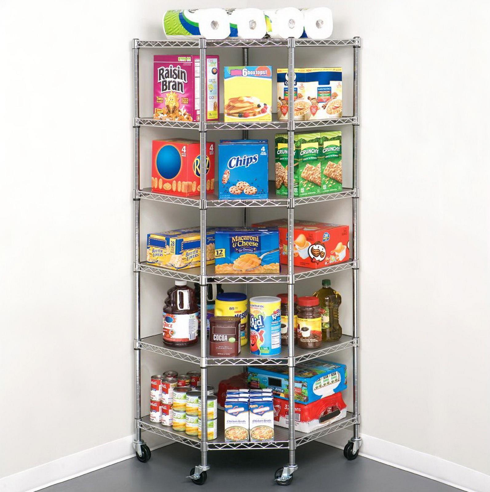 Details About 6 Layer Heavy Duty Wire Corner Shelf Unit Garage Storage Shelving Rack Organizer