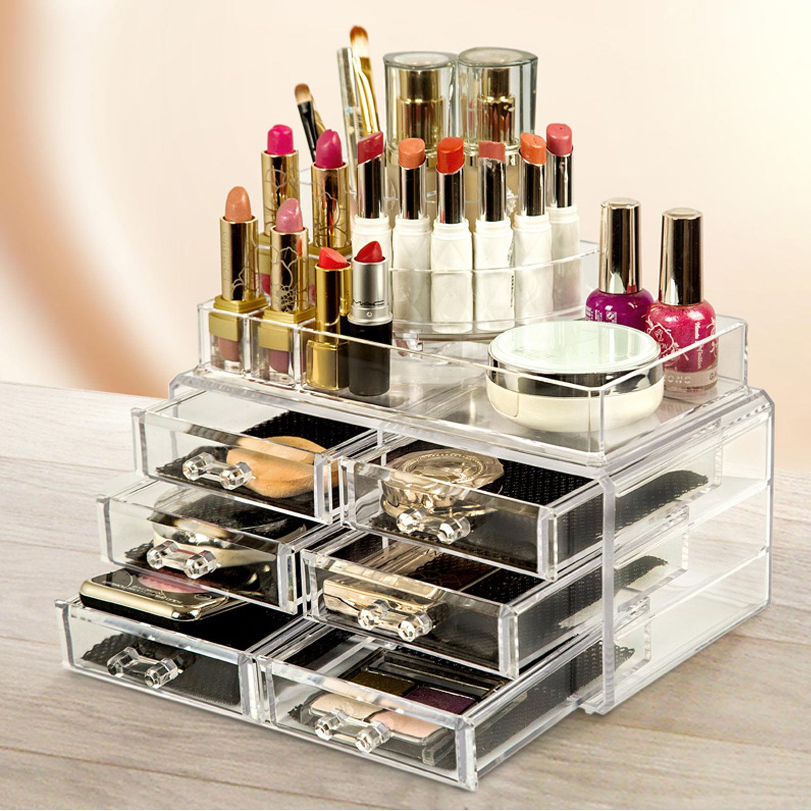 Details about 6 Drawer Clear Acrylic Cosmetic Organizer Makeup Case Jewelry  Storage Holder Box