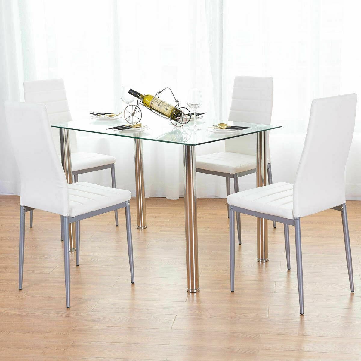 Details about 5 Piece Dining Table Set White Glass and 4 Chairs Faux  Leather Kitchen Furniture