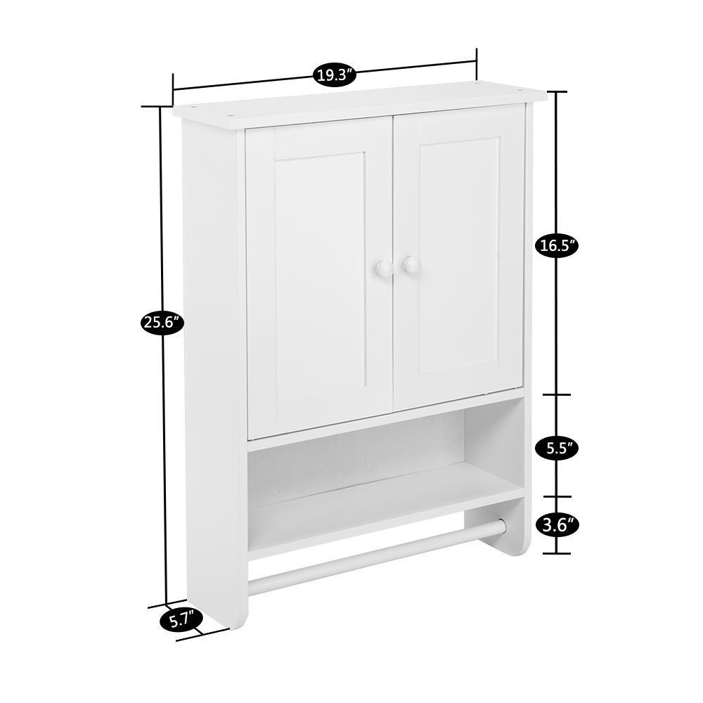 Wall Cabinet 2 Shutter Doors White Indoor Toilet Home Organizer Bathroom