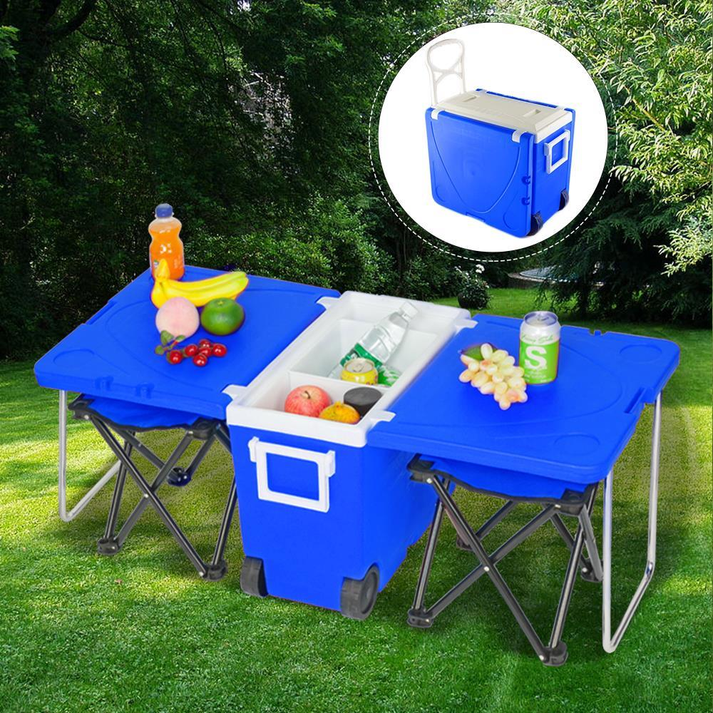 Multi Function Rolling Cooler Picnic Camping Outdoor w//Table /& 2 Chairs Blue