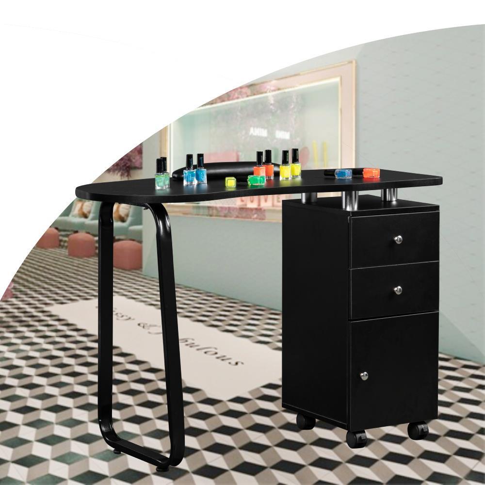 Details about Portable Nail Table Desk Salon Manicure Mobile Station w/  Cushion Lockable Cast