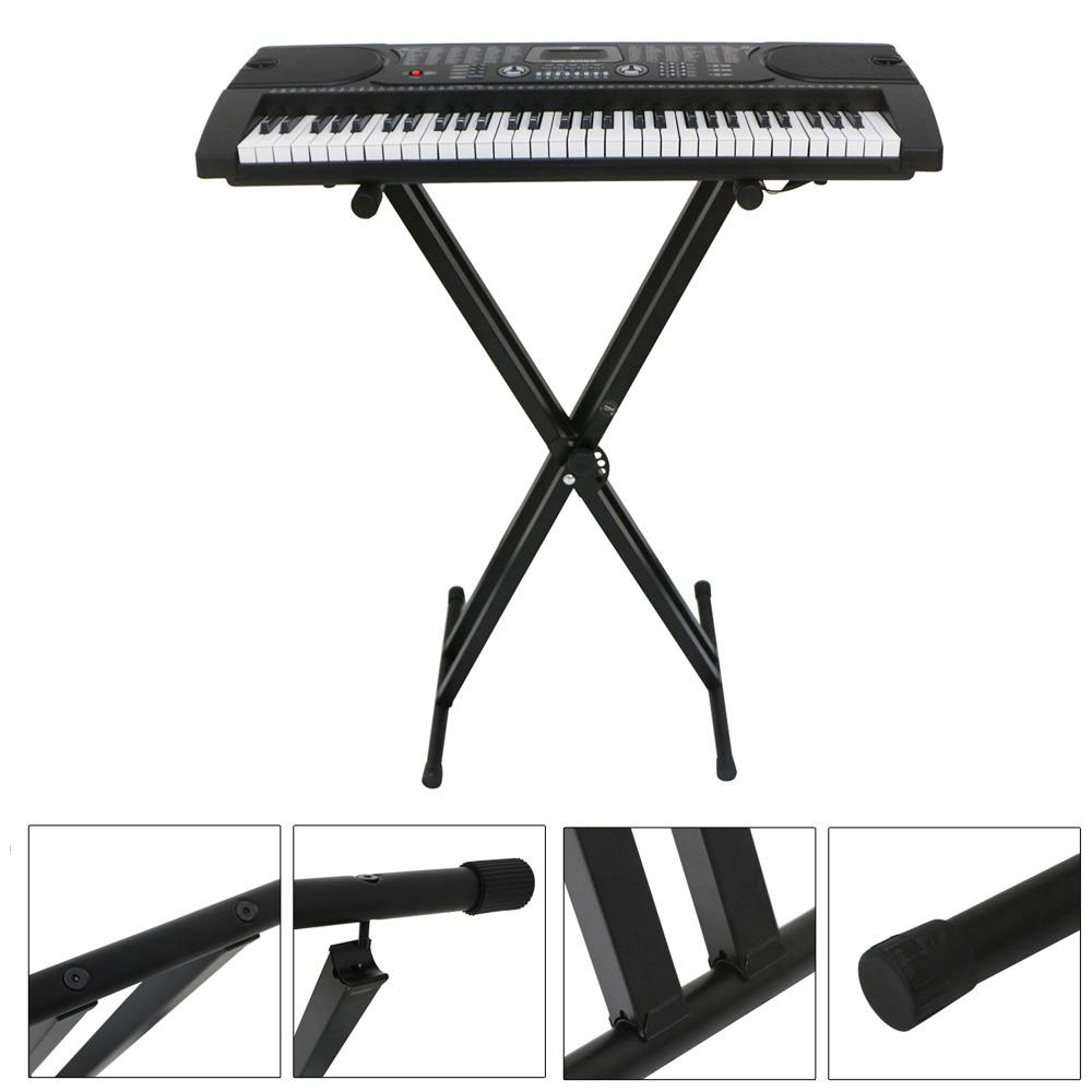 Height Adjustable Keyboard Piano X Stand Electric Organ Rack Metal Black