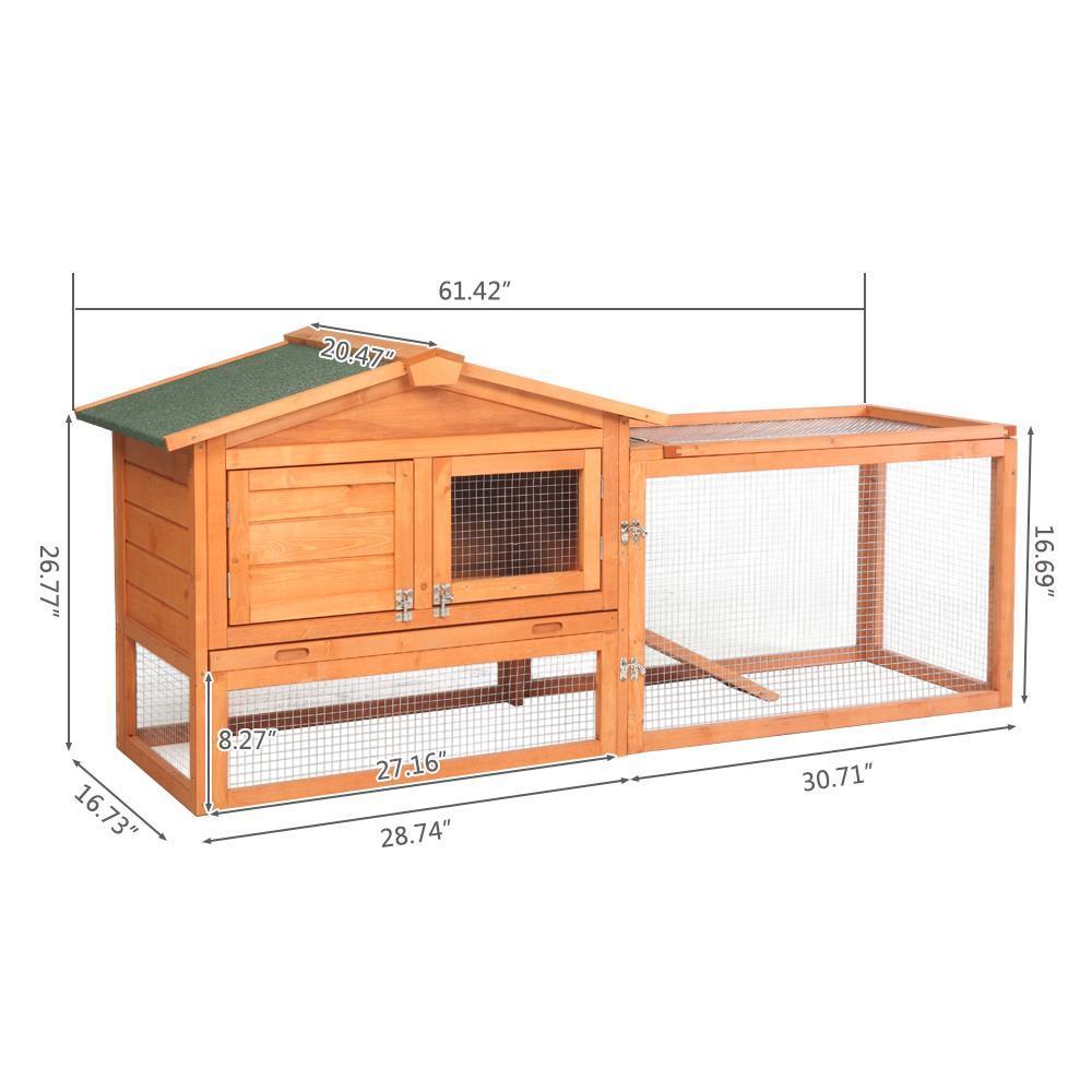 N//X Portable Wooden Rabbit Hutch Chicken Coop House Bunny Hen Pet Animal Backyard