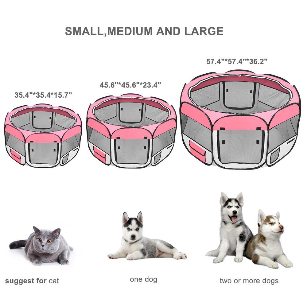 36 600d Oxford Portable Mascota Perrito Suave Carpa Corralito Perro Gato Plegable Cajon Rosa Ebay