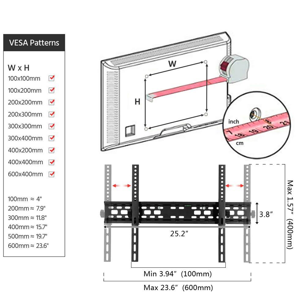TV Wall Mount Bracket Fixed 43 49 50 55 60 70 Inch LCD LED Plasma Spirit Level