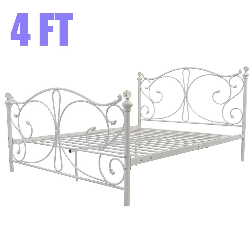 Wondrous Details About 4Ft 4Ft6 Double 5Ft King White Metal Bed Frame With Crystal Finials Uk Stock Onthecornerstone Fun Painted Chair Ideas Images Onthecornerstoneorg