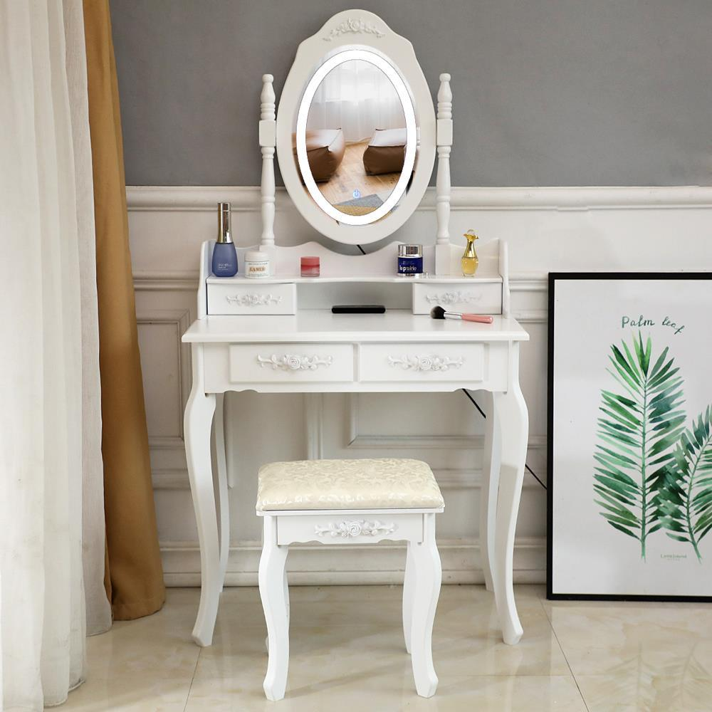 White Vanity Set with Lighted Mirror & Stool Drawer Women Makeup Dressing Table | eBay