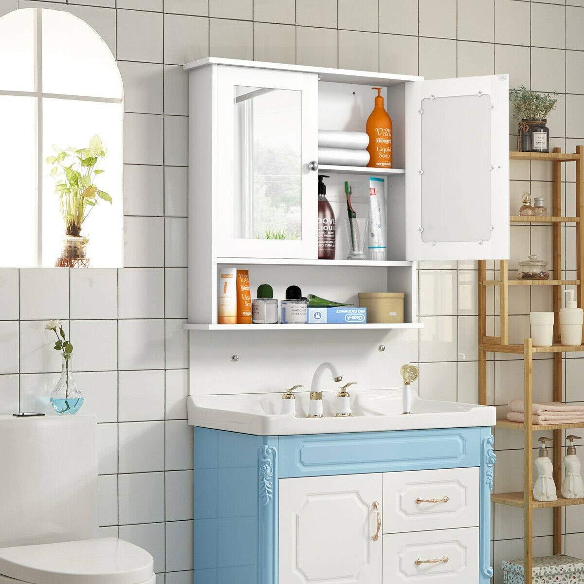 Wooden Bathroom Wall Mount Medicine Cabinet With Mirror Doors Adjustable Shelf Ebay