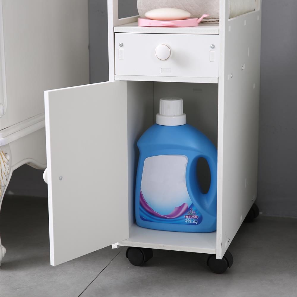 Narrow Wooden Rolling Bathroom Floor Cabinet Storage ...